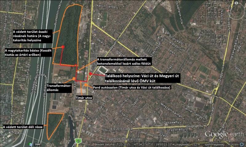 A takarítás helyszíne (Forrás: Google Earth)
