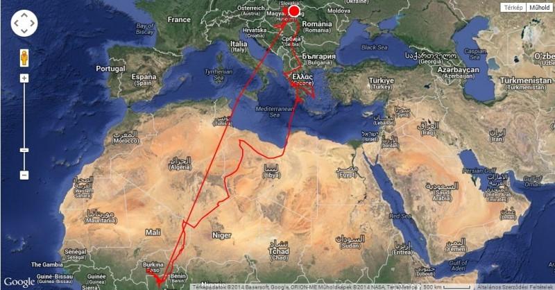 """""""Gabi"""", a parlagi sas útvonala a jeladó meghibásodásáig (Forrás: satellitetracking.eu)."""