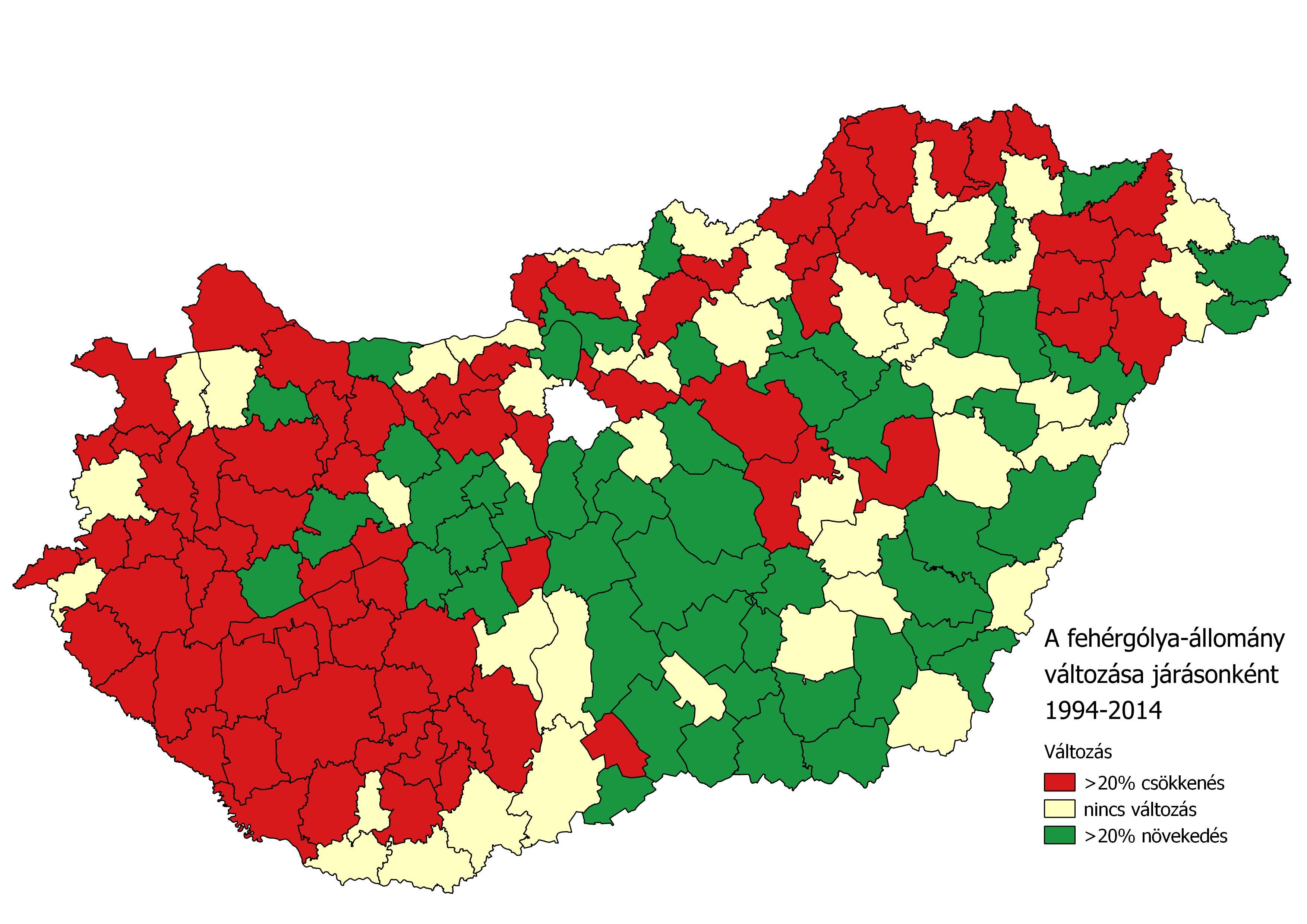 52b5e0a612 A magyarországi fehérgólya-állomány változása járásonként 1994-2014 között  (Forrás: MME Monitoring Központ).
