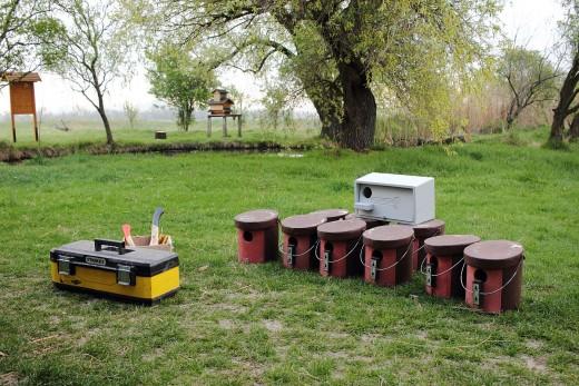 Az utolsó néhány Schwegler odú kihelyezésre vár (Fotó: Ampovics Zsolt).