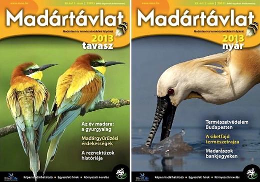Az MME Madártávlat magazin két számának borítója.