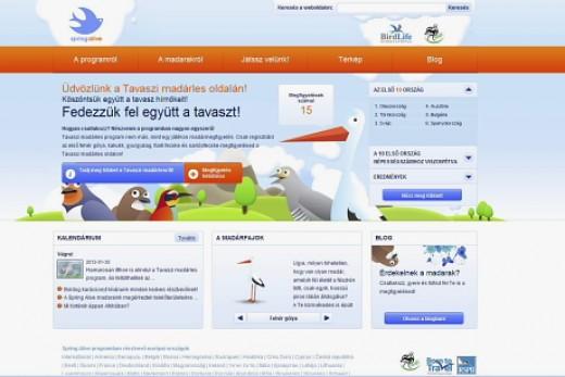 Tavaszi madárles (SpringAlive) program honlap magyar oldala (www.springalive.net)