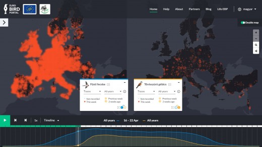 Pillanatkép a megújult EBP mintegy 30 millió lehetséges térkép kombinációinak egyikéről. Ami itt az adott képernyőképen egy kimerevített pillanat, azt az EBP weboldalán látványos animált térképen lehet megtekinteni.