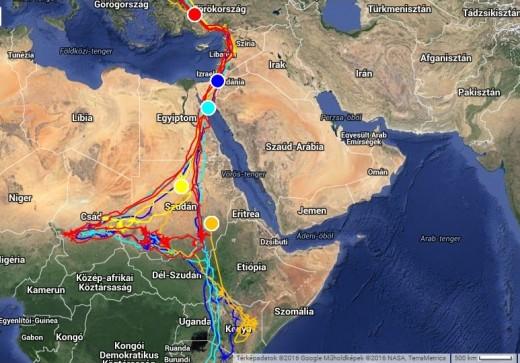 Veca (pirossal), Hajdú (tükizzel), Gyöngyvirág (kékkel), Garam (narancssárgával), Bátony pozíciói sárgával jelölve (forrás: satellitetracking.eu)
