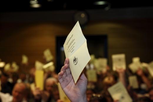 Szavazás az MME éves Küldöttközgyűlésén (Fotó: Orbán Zoltán).