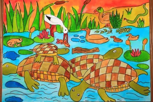 Különdíjas mocsári teknős rajz (Taricska Viktor)