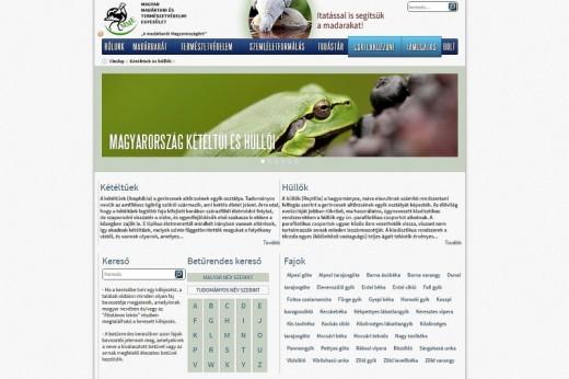 A Magyarország kétéltű- és hüllőfajait bemutató oldal az MME honlapjának TUDÁSTÁR menüjében (Forrás: www.mme.hu).