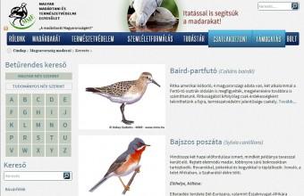 """Részlet az MME """"Magyarország madarai"""" honlapfelületéről (www.mme.hu/magyarorszagmadarai)"""