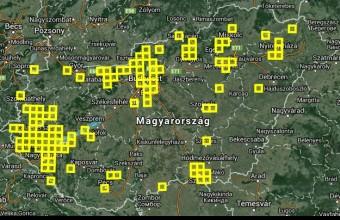 """Húsvét hétfőn 15:40-ig a térképen látható 114 db 10*10 km-es UTM négyzetből voltak feltöltött listás adatsoraink. Az 564 fajlistát 326 db 2,5*2,5 km-es UTM négyzet bejárása során gyűjtöttétek. Azóta ez a szám már biztosan növekedett, s a frissülő térképet is elérhetitek a MAP adatbázisban, erre a képre kattintva, az """"Áttekintő térkép"""" oldalon!"""