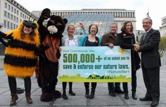 """Aktivisták nyújtják át Karmenu Velának, a környezetpolitikáért felelős EU biztosnak a """"Riadólánc a természetért"""" kampány során összegyűlt aláírásokat (Fotó: BirdLife Europe)"""