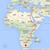 """""""Keszi"""" útja fészkétől Dél-Afrikáig (Forrás: satellitteracking.eu)."""