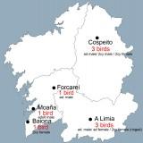 Galíciai (Spanyolország) megkerülések 2015 május közepéig, a költőterülettől mintegy 2500 kilométerre nyugatra (Forrás: Antonio Gutierrez).